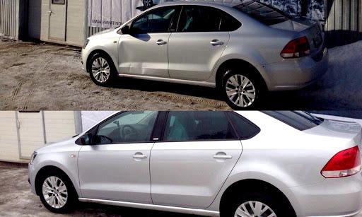 Фото ремонта автомобильной двери до и после