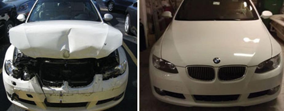 Изображение ремонта капота до и после